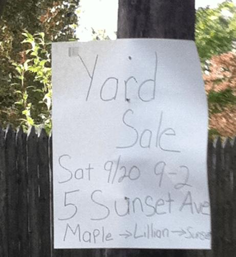 large garage sale signs