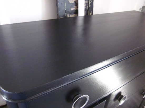 Black buffet with Large Button Hardware