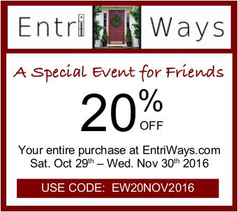 20% Off at Entri Ways Thru Nov 30th