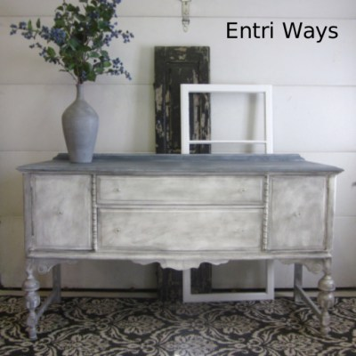 Gray Washed Vintage Sideboard Buffet