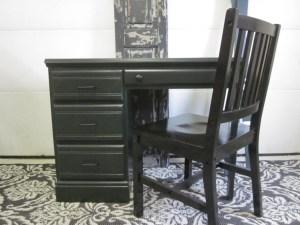 green desk black chair