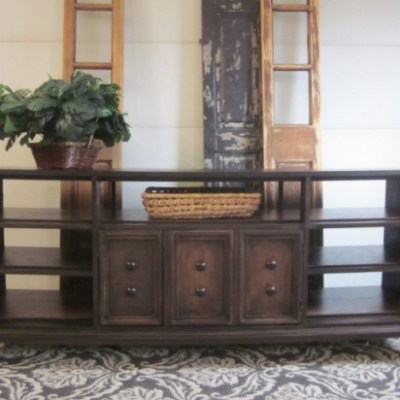 Before & After:   The Expresso-Stained Open Console