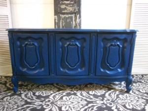 Velvet Finishes Handsome Blue Cabinet