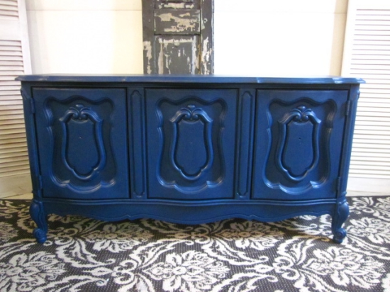 Velvet Finishes Handsome Blue Cabinet
