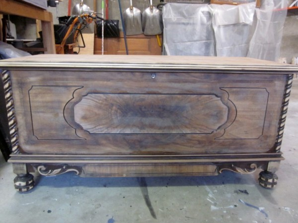 My Goal Was To Transform This Very Brown Antique Chest Into Statement Piece  Of Furniture That Could Be Used As A Storage Bench In An Entryway.