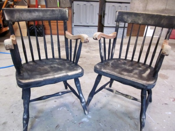 Captains Chairs painted black and gold