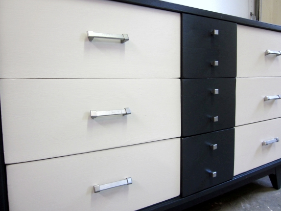 mcm blue white dresser