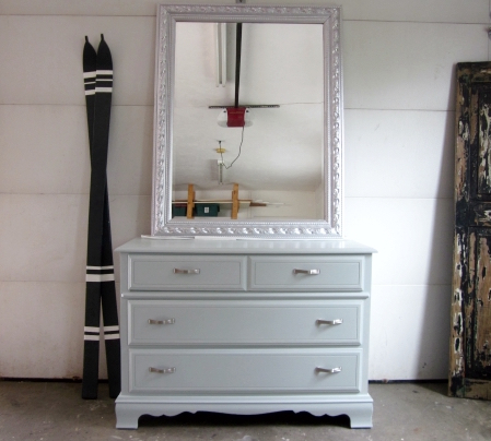WoodLawn Blue Dresser with silver hardware