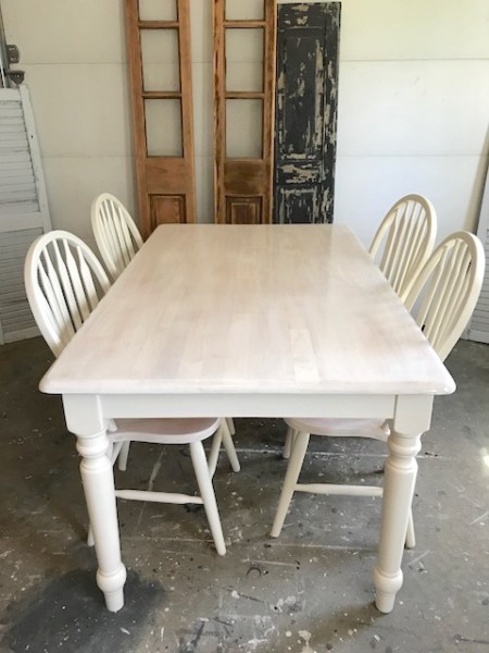 white washed farm table