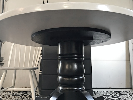 Gray table black base dining table