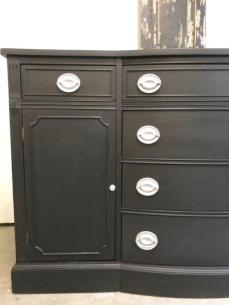 General Finishes Lamp black, black sideboard with hepplewhite pulls