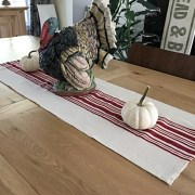 Red Grain Sack Style Table Runner