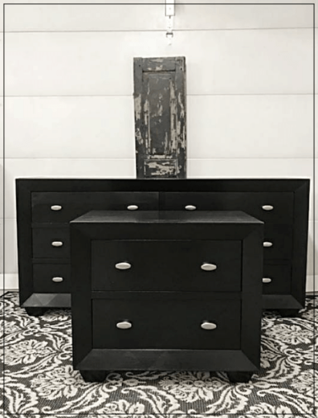 long black dresser & nightstand