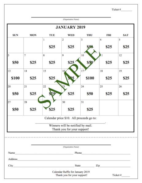 Cash Calendar Raffle Templates Entri Ways