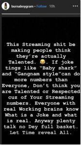 Mayorkun blasts Burna boy over a post about streaming numbers 3 Mayorkun blasts Burna boy over a post about streaming numbers