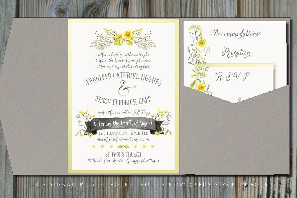 Summery Yellow Amp Gray Pocket Fold Wedding Invitation