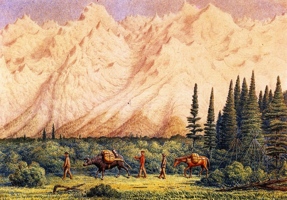 Foot-of-Rocky-Mountains-William-George-Richardson-Hind-oil-painting