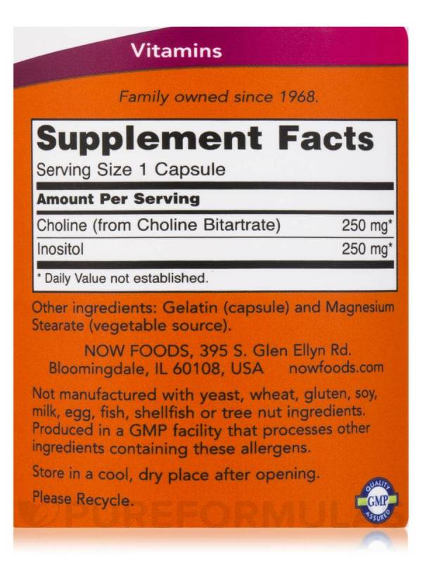 Now Foods - Choline & Inositol 500mg 100VegCaps