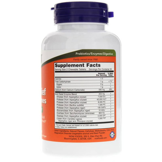NOW Foods - Acid Relief With Enzymes (Enzima digestivas) 60 Masticables.