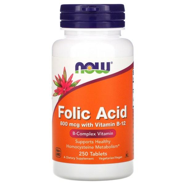 Now Foods - Ácido fólico 800mcg 250 Tabletas.