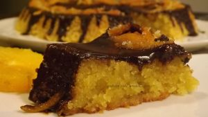 Tarta pastel de almendra con sirope de naranja y chocolate, receta para San Valentín