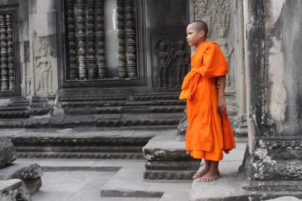 Un jeune moine à Ankgor Vat.