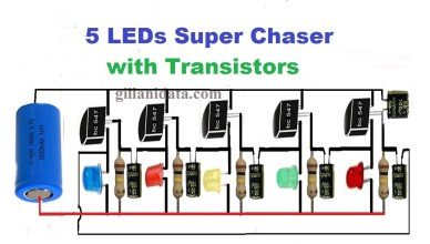 5 LED chaser with transistors