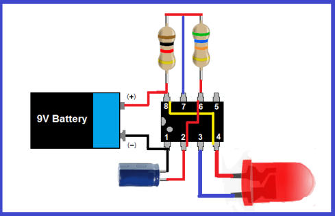 LED Flasher using a 555 timer ic