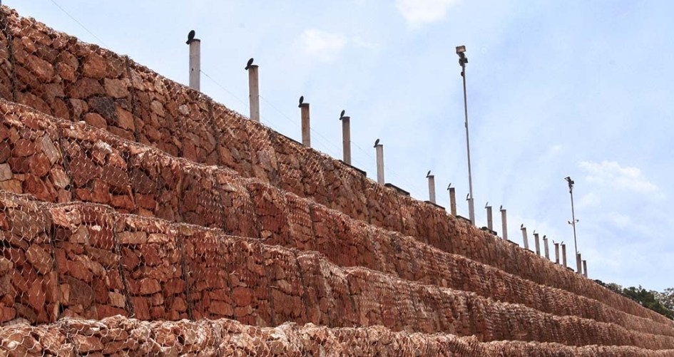 Mutundwe Temporary Substation Uganda Freestanding Mass Gravity Gabion Wall Portfolio