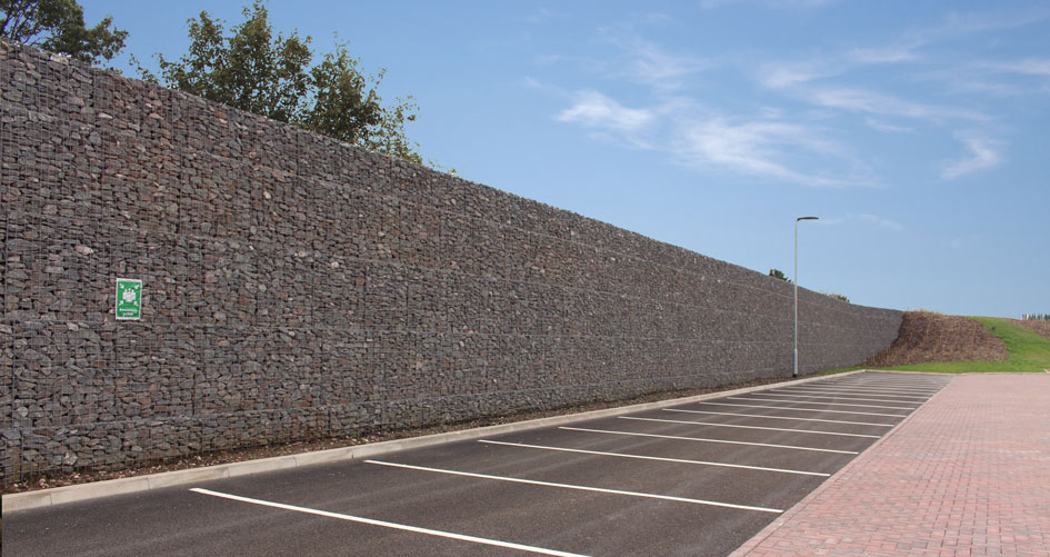 Prologis Birmingham Interchange Freestanding Gabion Upstand Wall