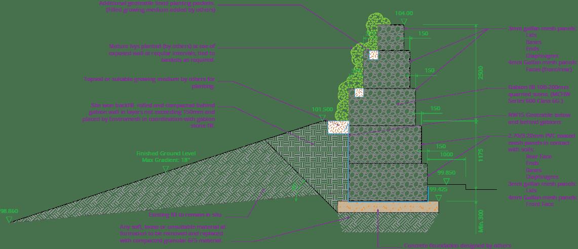 Prologis Birmingham Interchange Freestanding Gabion Upstand Wall Drawing