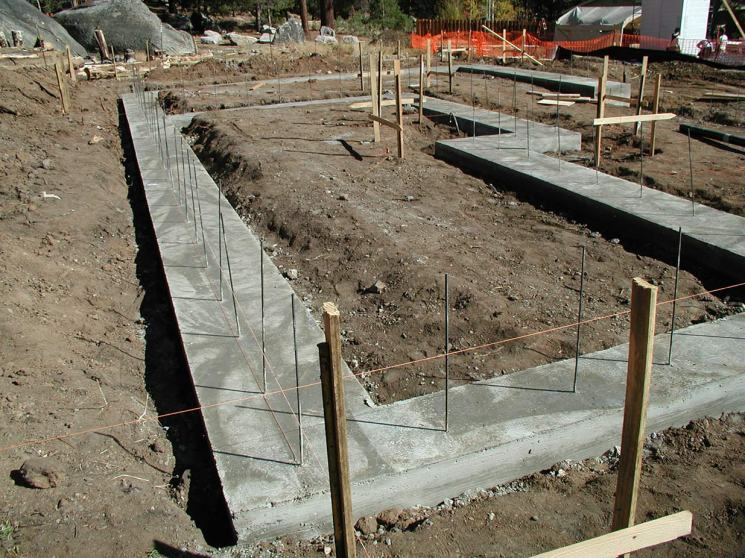 Foundation with rebar ready for TriD panels