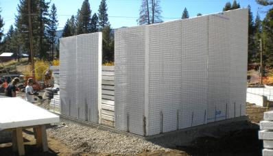 Panels set onto rebar