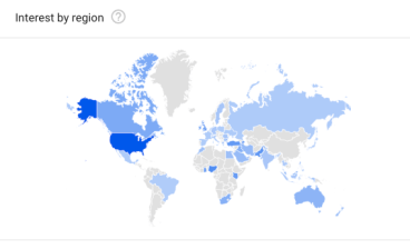 """Screenshot of a google trends search for the word """"turkey"""" showing that the word is most commonly searched in the US"""