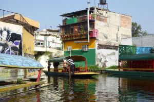 Houses built directly on canal in Xochimilco wetland.