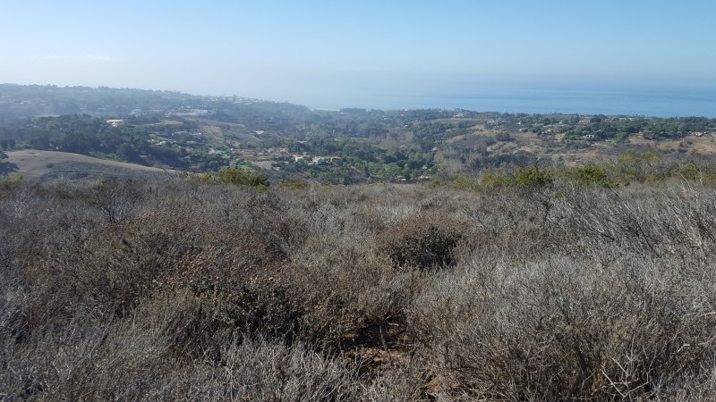 Hills in the foreground with the ocean in the background. Hills are covered in brown, leafless shrubs
