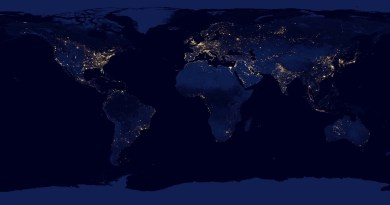 """NASA image acquired April 18 - October 23, 2012rrThis new image of the Earth at night is a composite assembled from data acquired by the Suomi National Polar-orbiting Partnership (Suomi NPP) satellite over nine days in April 2012 and thirteen days in October 2012. It took 312 orbits and 2.5 terabytes of data to get a clear shot of every parcel of Earth's land surface and islands.rrThe nighttime view of Earth in visible light was made possible by the """"day-night band"""" of the Visible Infrared Imaging Radiometer Suite. VIIRS detects light in a range of wavelengths from green to near-infrared and uses filtering techniques to observe dim signals such as gas flares, auroras, wildfires, city lights, and reflected moonlight. In this case, auroras, fires, and other stray light have been removed to emphasize the city lights. Named for satellite meteorology pioneer Verner Suomi, NPP flies over any given point on Earth's surface twice each day at roughly 1:30 a.m. and 1:30 p.m. The spacecraft flies 824 kilometers (512 miles) above the surface in a polar orbit, circling the planet about 14 times a day. Suomi NPP sends its data once per orbit to a ground station in Svalbard, Norway, and continuously to local direct broadcast users distributed around the world. The mission is managed by NASA with operational support from NOAA and its Joint Polar Satellite System, which manages the satellite's ground system.rrNASA Earth Observatory image by Robert Simmon, using Suomi NPP VIIRS data provided courtesy of Chris Elvidge (NOAA National Geophysical Data Center). Suomi NPP is the result of a partnership between NASA, NOAA, and the Department of Defense. Caption by Mike Carlowicz.rrInstrument: Suomi NPP - VIIRS rrCredit: NASA Earth ObservatoryrrClick here to view all of theEarth at Night 2012 imagesrrClic"""