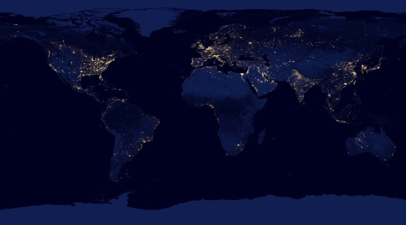 "NASA image acquired April 18 - October 23, 2012rrThis new image of the Earth at night is a composite assembled from data acquired by the Suomi National Polar-orbiting Partnership (Suomi NPP) satellite over nine days in April 2012 and thirteen days in October 2012. It took 312 orbits and 2.5 terabytes of data to get a clear shot of every parcel of Earth's land surface and islands.rrThe nighttime view of Earth in visible light was made possible by the ""day-night band"" of the Visible Infrared Imaging Radiometer Suite. VIIRS detects light in a range of wavelengths from green to near-infrared and uses filtering techniques to observe dim signals such as gas flares, auroras, wildfires, city lights, and reflected moonlight. In this case, auroras, fires, and other stray light have been removed to emphasize the city lights. Named for satellite meteorology pioneer Verner Suomi, NPP flies over any given point on Earth's surface twice each day at roughly 1:30 a.m. and 1:30 p.m. The spacecraft flies 824 kilometers (512 miles) above the surface in a polar orbit, circling the planet about 14 times a day. Suomi NPP sends its data once per orbit to a ground station in Svalbard, Norway, and continuously to local direct broadcast users distributed around the world. The mission is managed by NASA with operational support from NOAA and its Joint Polar Satellite System, which manages the satellite's ground system.rrNASA Earth Observatory image by Robert Simmon, using Suomi NPP VIIRS data provided courtesy of Chris Elvidge (NOAA National Geophysical Data Center). Suomi NPP is the result of a partnership between NASA, NOAA, and the Department of Defense. Caption by Mike Carlowicz.rrInstrument: Suomi NPP - VIIRS rrCredit: NASA Earth ObservatoryrrClick here to view all of the  Earth at Night 2012 images rrClic"