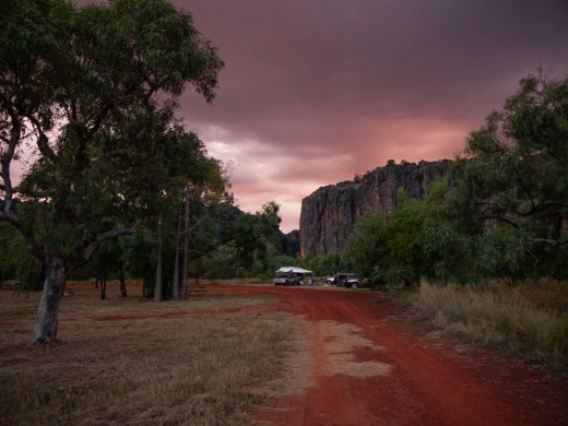Sunset over the Campground at Windjana Gorge National Park, Western Australia