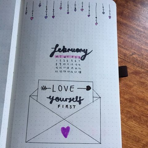 My cover for February in my bullet journal.