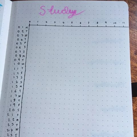 This is the study tracker that I have drawn out for this month.