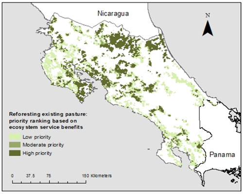 results of root in costa rica showing the highest priority areas for reforesting existing pasture one of costa rica s landscape restoration opportunities