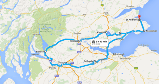 Our round trip route. Google predicts this round trip would take almost 6 hours in a conventional car