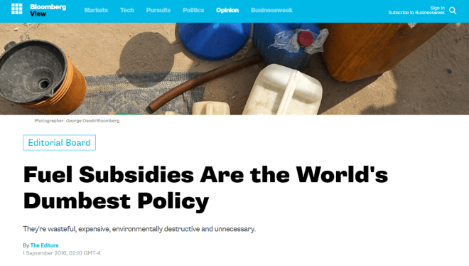fossil fuel subsidies are the world's dumbest policy