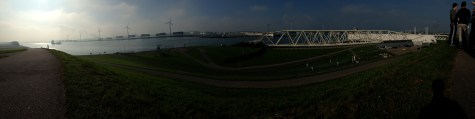 Panoramic sweep (L to R) from Rotterdam to the Maeslant Barrier.