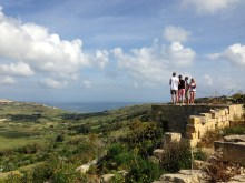 Students check out the valley approach to ir-Ramla, Gozo.