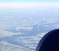 Entering Ontario, near James Bay – lots of meandering rivers.