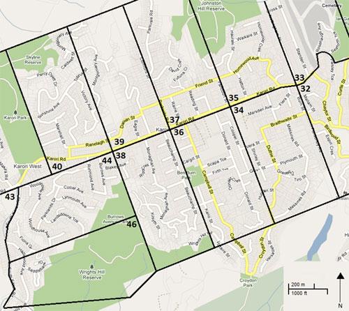 Approximate Boundaries of New Zealand Company Estate Blocks