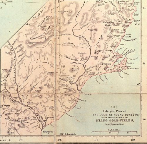 Figure 1b: Inset Map lower right: 'Enlarged plan of the country around Dunedin: and the eastern portion of the Otago goldfields (from Thomson's Map)' in 'New Zealand by W. Hughes', George Philip and Son, London and Liverpool. 1868 [?], from 'Sir George Grey Special Collections, Auckland Libraries, NZ Map 2632'.