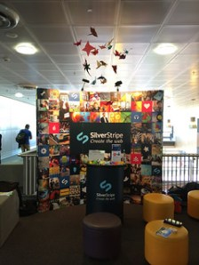 We used the crowd sourced origami to create an art installation above our stand that guests could add to